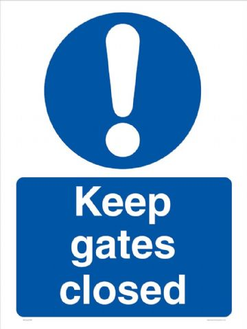 Keep gates closed sign
